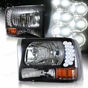 For 1999-2004 Ford F250/F350 Super Duty LED Black Headlights W/Amber Reflector