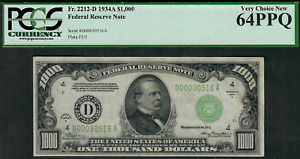 Fr-2212D 1934A $1,000 Cleveland FRN # D00030516A,  PCGS-64PPQ. Best Buy on eBay!