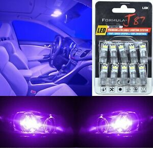LED 3030 Light Purple 12000K 194 Ten Bulbs Interior Map Replace Upgrade Lamp Fit