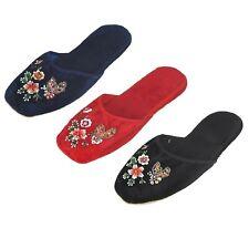 Handmade Embroidered Butterfly Beaded Floral Chinese Women's Velvet Slippers New