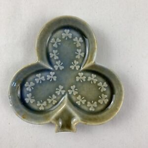 Vintage Club Shamrock Clover Irish Porcelain Trinket Dish Ashtray Playing Card