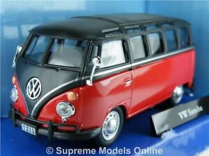 VOLKSWAGEN T1 SAMBA BUS 1/43RD SCALE MODEL RED/BLACK PACKAGED ISSUE K8967Q~#~
