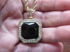 """Mens Hip Hop 14k Gold Plated Black Onyx Ruby Stone Pendant With 24"""" Rope Chain"""