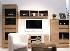 Oak Finish Living And Dining Room Furniture TV Storage Gaming Display Units