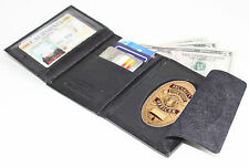 Black Leather Concealed Fire Security Oval Badge Wallet ID Credit Card Case!----