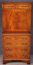 Georgian Style Small Inlaid Flame Mahogany Secretaire Writing Desk On Chest