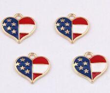 6pcs-Heart charm, US star charm-USA Flag heart Charm- golden tone Enamel charm