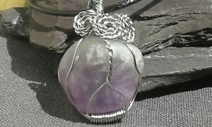 Artisan Amethyst Silver Steel 316 Wire Wrapped Pendant with cord Boho Gypsy