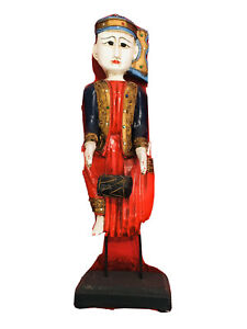 Vintage Collection 21 In Asia Tribal Musician Wood Statue Museum Display