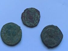 More details for lot of 3 rare ancient byzantine bronze coins justinian, sophia, justin ii
