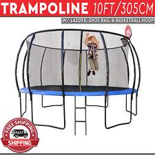 Trampoline with Ladder Shoe Bag Basketball Hoop Safety Net Round Mat 10FT/305CM