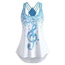 Ladies Bandages Sleeveless Vest Top Musical Notes Print Strappy Tank Tops Shirts