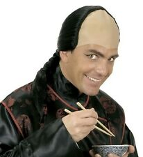 Mens Ming Merciless Wig Black Bald Plait Oriental Chinese Japanese Fancy Dress