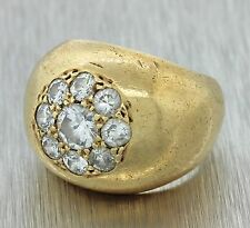 Vintage Estate 14k Solid Yellow Gold 1.30ctw Old Mine Cut Diamond Band Ring