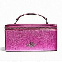 NWT Coach Vanity Cosmetic Jewelry Case F37568 Metallic Cerise