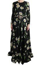 NEW DOLCE & GABBANA Dress Silk Daisy Print Crystal Maxi Gown IT42 /US8 /M