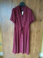 GEORGE MIDI SHIRT DRESS Burgundy Red Button Front UK 12 / 40 - NEW