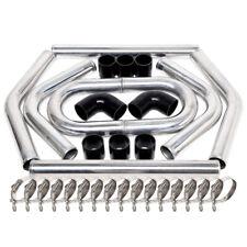 "2.5"" 63mm Polished Aluminum Intercooler Pipe Kit + Black Hose + Clamp"