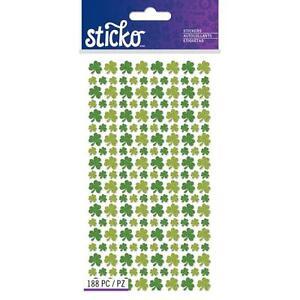 Scrapbooking Crafts Stickers Stickos Glitter Shamrocks Large Small Repeats