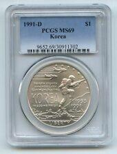 1991 D $1 Korean War Silver Commemorative Dollar PCGS MS69