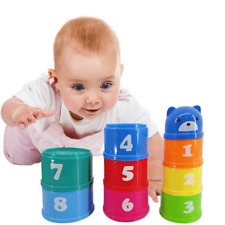 9Pcs Early Education Baby Kids Toys Figures Letters Folding Stacking Cups Tower