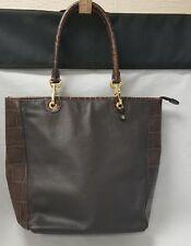 """Brooks Brothers Purse: Brown Leather Shoulder Bag, 15""""×11"""", Blue Storage Bag,"""