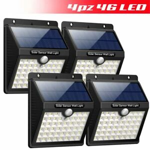 Lampada Faro LED Solare 4 PZ Faretto con Sensore Movimento Luce Esterno Giardino