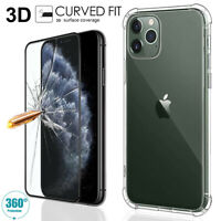 Clear TPU Case Tempered Glass Screen Protector For iPhone 11 Pro XS Max XR 7 8 6