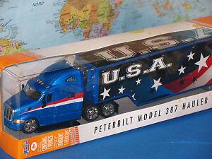 "JADA JUST TRUCKS PETERBILT MODEL 387 HAULER U.S.A. FLAGS 14"" *BRAND NEW & RARE*"