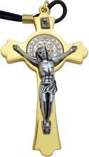 "MRT St Benedict Gold Plate Pectoral Crucifix Pendant Large Protection Cross 3"""