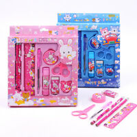 9-in-1 Cartoon Learn Stationery Box Set Pencil Eraser Ruler Sharpener Kids New