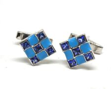 925 Sterling Silver men's Cufflinks Natural Sapphire & meena work free shipping.
