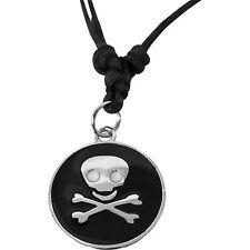 Skull and Crossbones Pendant Chain Necklace Men Pirate Fancy Dress Silver Colour