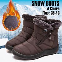Women Winter Warm Ankle Snow Boots Zipper Fur-lined Slip On Flat Shoes Plus Size