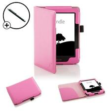 Forefront Cases Leather Pink Smart Case Cover for Amazon Kindle Voyage + Stylus