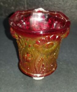 Votive Candle Cup Home Interior Red Daisy Homco Glass Pegged Flower Ruby  Vtg