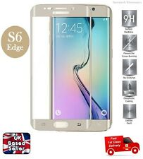 Full Coverage Bubble Free Tempered Glass Protector for Samsung S6 Edge GOLD