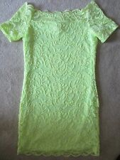 WOMENS H&M DIVIDED GREEN LACE OFF THE SHOULDER SEXY STRETCH DRESS SMALL NWT