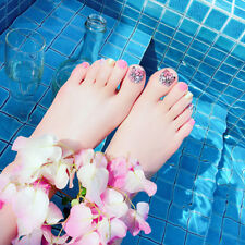 24pcs flower short nails false fake artificial tips toes nail art tool Fm