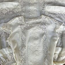 Antique Dress Late Edwardian Early 1920's Whitework Embroidered Filet Lace Gown