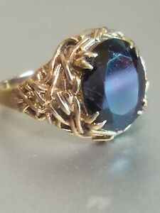 Vintage 9ct Gold And Garnet Ring 1972 Birmingham Gothic Design stunning