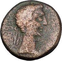 AUGUSTUS 27BC Thessaly Koinon ATHENA Authentic Ancient Roman Coin RARE i47217