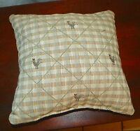 Tan Check Chicken Print Decorative Print Throw Pillow  12 x 12