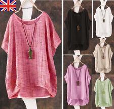 UK 8-24 Women Summer Plain Scoop Neck Short Sleeve Retro T-shirt Blouse Tee Tops
