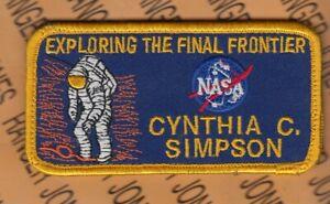 "NASA Space Flight Suit Name Tape CYNTHIA C. SIMPSON 4"" patch w/ Hook"