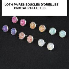 Lot 6 paires de boucles d/'oreilles paillettes couleurs revendeur Bijoux FRANCE