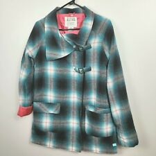 BILLABONG Wool Green Pink Plaid Coat Jacket Size Medium Lightweight