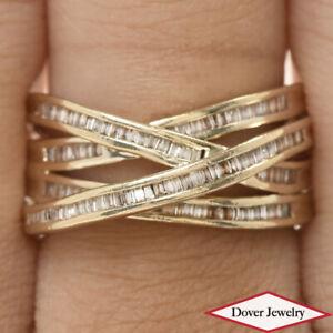 Estate 1.40ct Diamond 14K Gold Baguette Crossover Ring 6.1 Grams NR