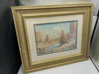 Robert Doares Art Print Autumn Harvest Woman Wood Gold Picture Frame VTG Glass