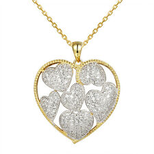 14k Gold Finish Iced Out Crystals Hearts In Love Frame Pendant Sterling Silver